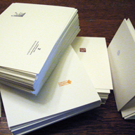 Pile of note-cards, ready for folding.